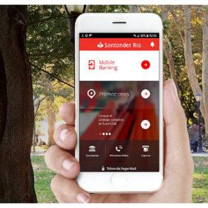 celular con aplicacion de Santander Rio
