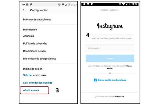 crear dos cuentas de instagram en un celular