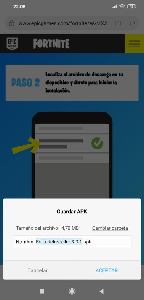 Archivo APK del Fortnite Mobile